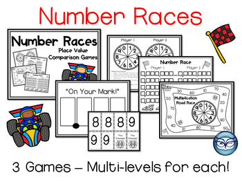Number Races Place Value Games - Grades 3-5