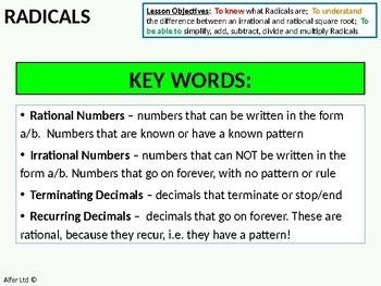 Radicals 1 - An Introduction & Simplifying (+ worksheet)