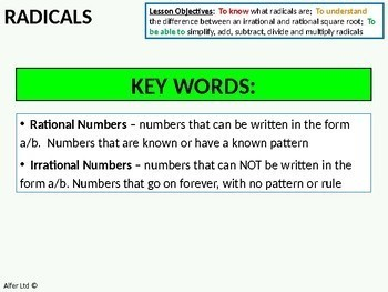 Radicals 2 - Simplifying (+ worksheet)