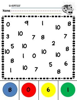 Number Recognition 0-10 Practice Worksheets