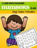 Number Recognition 0-20 Bingo Daubers for Preschool