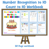Number Recognition 1 - 10 / Counting to 10 - 32 Page workbook
