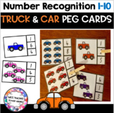 Number Recognition 1-10 Peg Cards- Truck and Cars