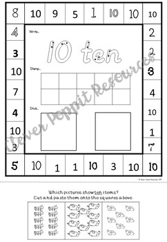 Number Recognition and Counting 1-10 - Write, Stamp, Stick, Punch!