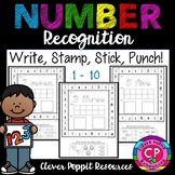 Number Recognition and Counting 1-10 - Write, Stamp, Stick