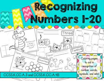 Number Recognition 1-20 Color Pages - Easy, No Prep! Print and GO!