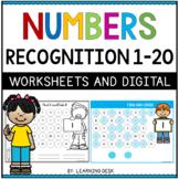Number Recognition 1-20 Worksheets - Number sense 1 to 20