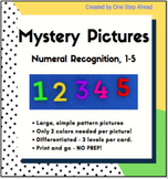 Number Recognition 1-5, NO PREP, with simple designs and l