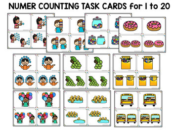 Number Recognition 1 to 20: Number Counting 20 Task Cards