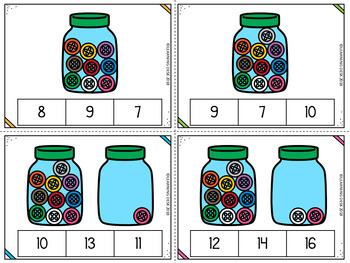 Number Recognition 1 to 20: Number Counting Clip Cards