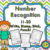 Number Recognition and Counting 11-20 - Write, Stamp, Stick, Punch!