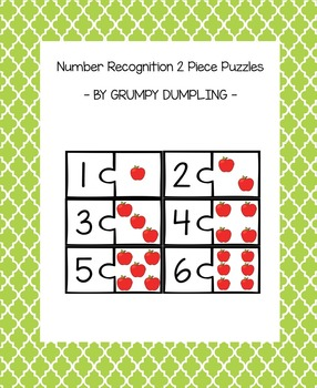 Number Recognition 2 Piece Puzzles