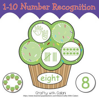 Number Recognition Activity, Math Center Activity in Cupcake Theme