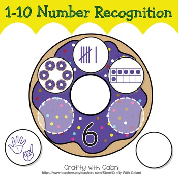Number Recognition Activity, Math Center Activity in Cute Doughnut Drawings