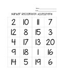 Number Recognition Assessment 1-20