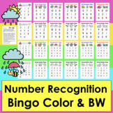 Number Recognition Bingo 2 Sets 0-10 and 0-20 Color and BW