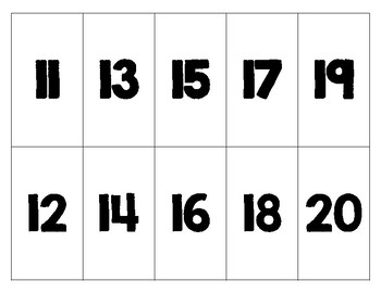 Number Recognition Cards: Numbers 11-20