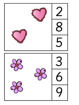 Count & Clip - Counting 1-10 Valentine's Theme - Math Center