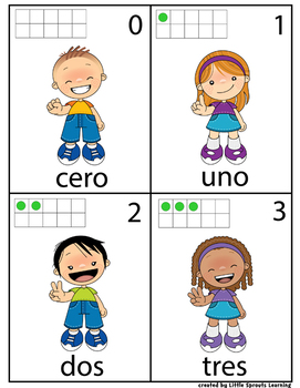 Number Recognition Counting Numbers 0- 10 (Spanish and English)