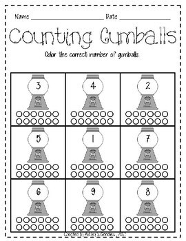 Number Recognition Counting Worksheets