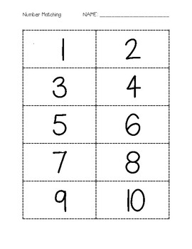 Number Recognition Cut Outs