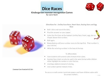 Number Recognition Dice Races