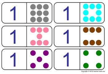 Number Recognition Dominoes