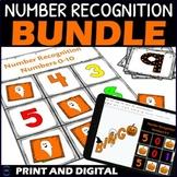 Halloween Number Recognition 0-10 Digital Drag and Drop Bingo BUNDLE