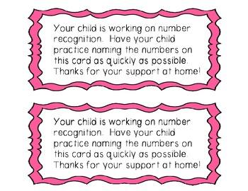 Number Recognition Fluency Cards (0-20)