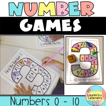 Number Recognition Game Boards Bundle,  Numbers 0-10