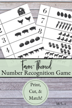 Number Recognition Game- Farm Theme
