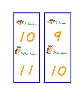 Number Recognition Game: I Have, Who Has 0-20