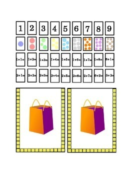 Number Recognition Glue Hole Punch Staple Fill it up cut-out cards Addition