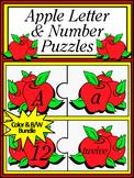 Number Recognition & Letter Recognition: Apple Letter & Number Puzzles Bundle