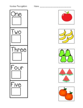 Number Recognition Matching - Write Numbers