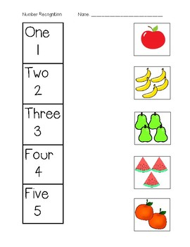 Number Recognition Matching - No writing