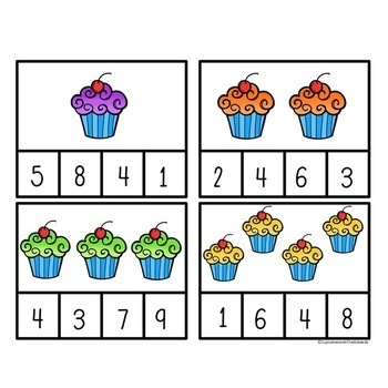 Number Recognition Math Clip Cards: Numbers 1-10