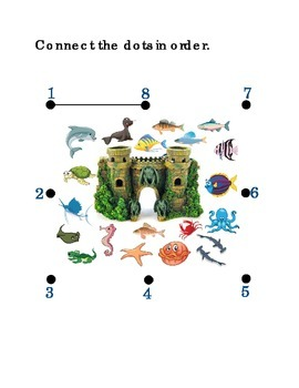 Number Recognition Number Eight 8 Connect the Dots Fish Tank Kindergarten Math