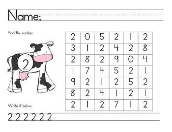 Number Recognition - Number Find Math Center/Homework/ Classroom Resource