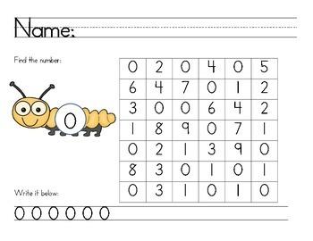 Number Recognition - Number Find Math Center/Homework/ Cla