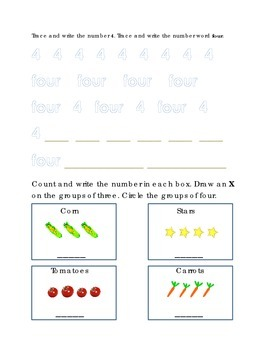 Number Recognition Number Four Trace Write Count Circle Corn Kindergarten Math