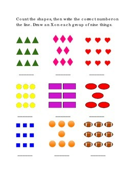 Number Recognition Number Nine 9 Count Shapes Write Draw X