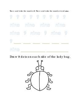 Number Recognition Number Nine 9 Draw Dots on Lady Bug Kindergarten Math