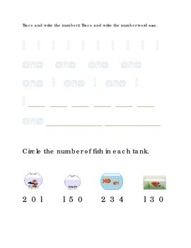 Number Recognition Number One Trace Write Circle Fish Tank Kindergarten Math