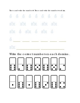 Number Recognition Number Six Trace Write Domino Dots Kindergarten Math