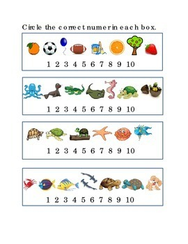 Number Recognition Number Ten Circle Correct 1 to 10 Picture Kindergarten Math