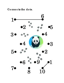 Number Recognition Number Ten Connect the Dots 1 to 10 Panda Kindergarten Math