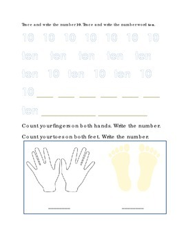 Number Recognition Number Ten Trace Write Count Fingers Toes Kindergarten Math