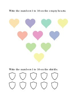 FREEBIE Number Recognition Number Ten Write 1 to 10 Hearts Shields Kinder Math