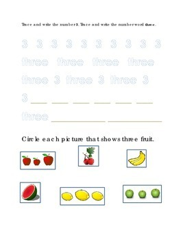 Number Recognition Number Three Trace Write Circle Apple Fruit Kindergarten Math